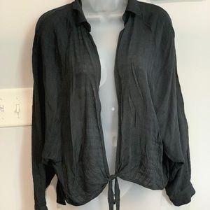 Black sheer tie blouse